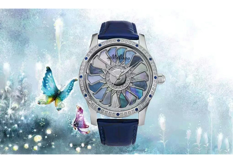 MELISSA New Arrival Windmill Watch Big Women Colorful Shell Watches Quartz Water proof Leather Relogio Feminino