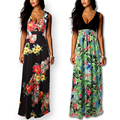 2017 New Arrival Print Women Summer Dresses Long Floral Maxi Sleeveless Beach Dress Boho Elegant V-neck Sexy  Plus Size