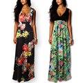 2017 new arrival impressão mulheres vestidos de verão longo maxi floral sem mangas beach dress boho elegante sexy com decote em v plus size