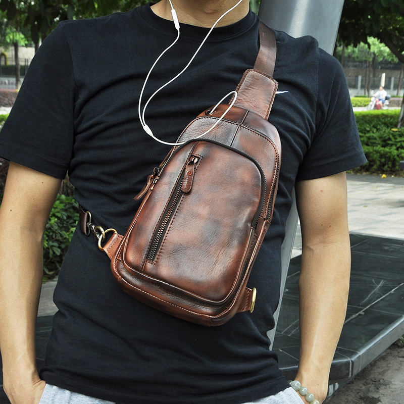 Men Quality Leather Casual Design Chest Sling Bag Fashion Travel Triangle One Shoulder Bag 8 Tablet