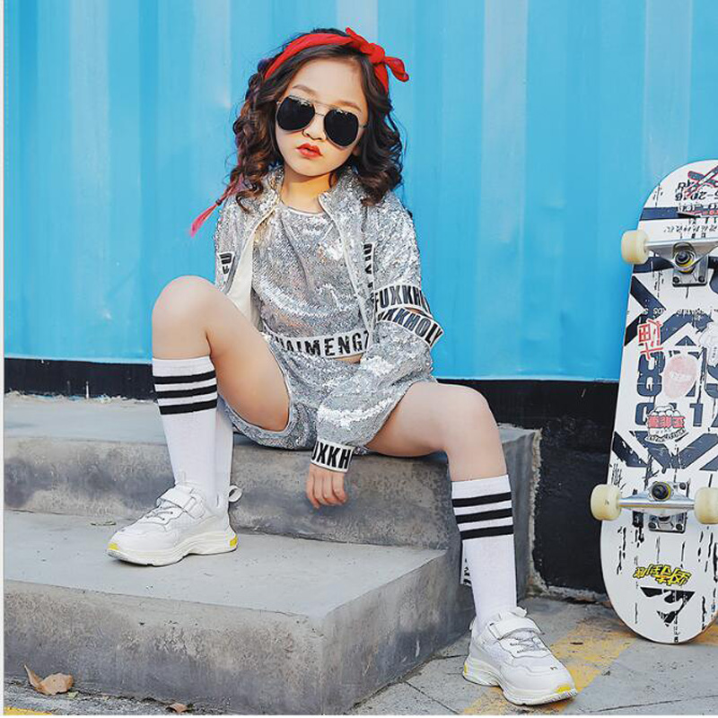 Kids Sequined Ballroom Modern Jazz Hip Hop Dancewear Costumes Set Shirt Tops Pants For Girls Boys Party Dancing Clothes Outfits
