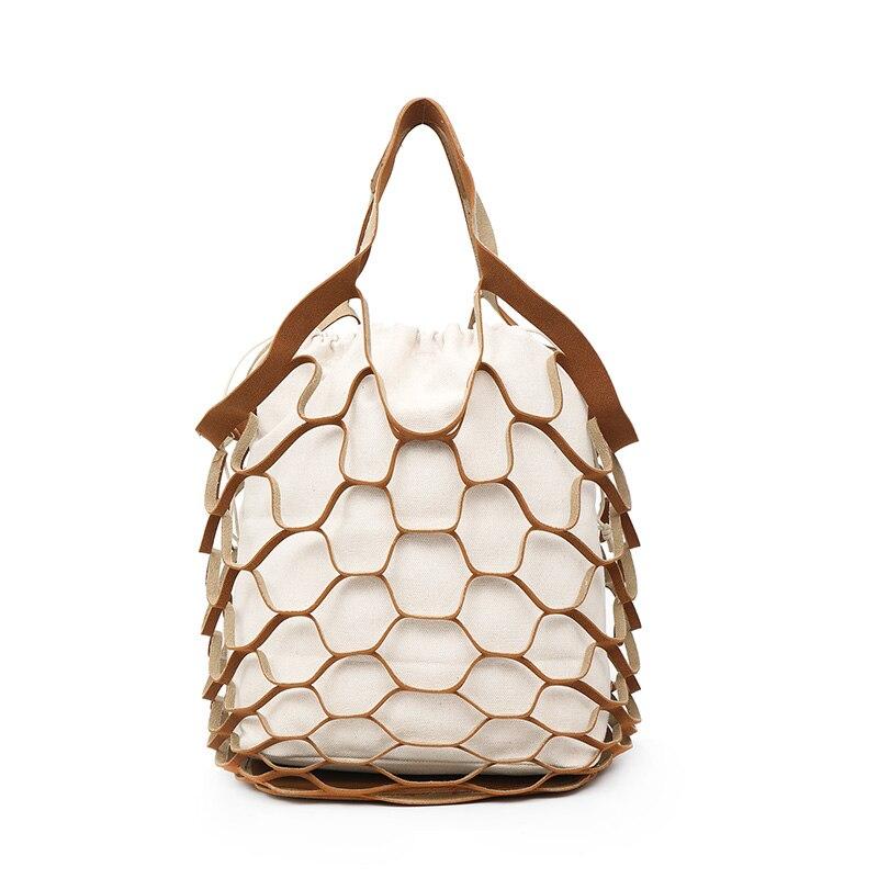 2 Pcs/Set Composite Bag Hollow Drawstring Canvas Handbag Fish Net Shoulder Bags FA$1