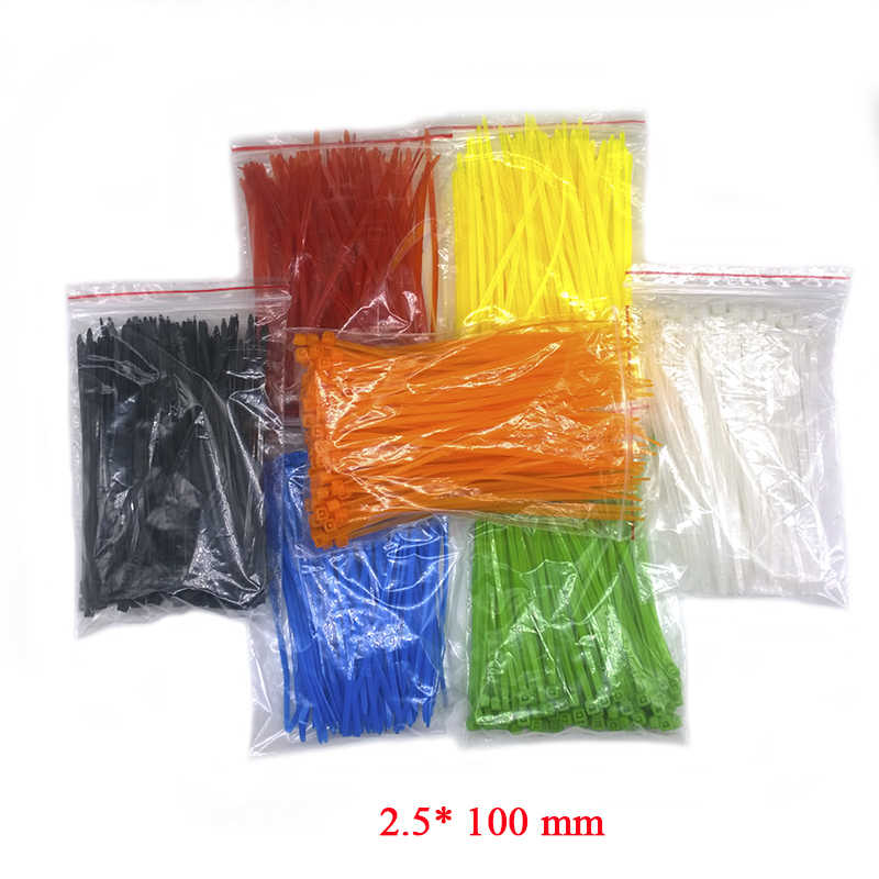 9 Warna 3*100 Mm 100/Tas Lebar 2.5 Mm Kuat Plastik Kabel Ties dengan Self-Locking kabel Nilon Dasi Standar Internasional