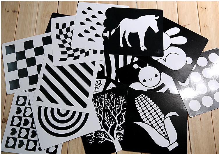 Black and white card for Preschool educational  baby  Visual training card animal cards  free shipping(China)
