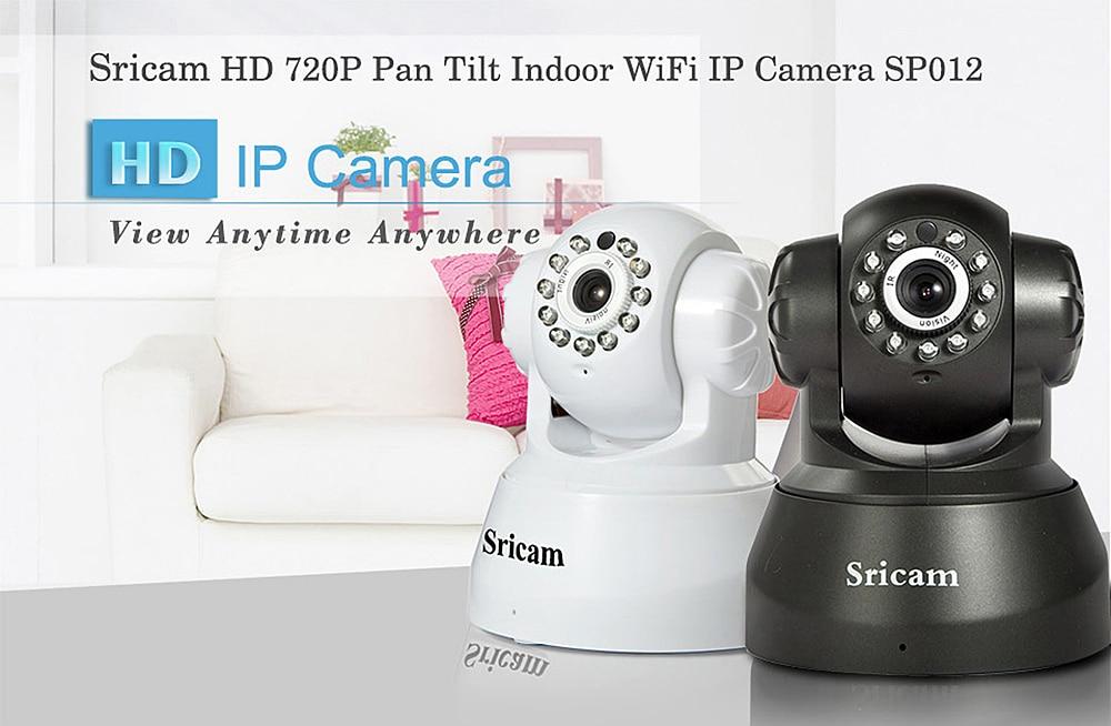 Sricam SP012 720P HD Wifi Wireless Network Webcam Security IP Camera PTZ TF Slot