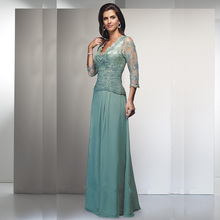 Elegant Lace Floor-Length v-neck top applique Chiffon beaded mother of the bride dress 2015