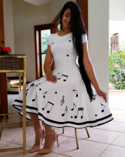 2019 Summer Fashion Print Musical Note O-Neck Short Sleeve White Women Dress