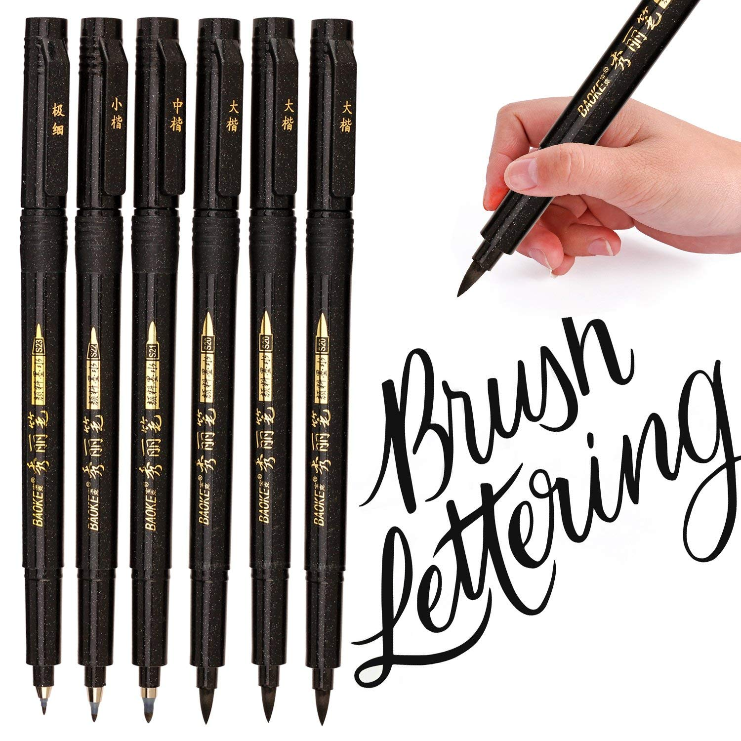 Lettering Pens, Refill Brush Calligraphy Markers Set - 4 Size, for Beginners Writing, Art Drawings, and DIY Bullet JournalLettering Pens, Refill Brush Calligraphy Markers Set - 4 Size, for Beginners Writing, Art Drawings, and DIY Bullet Journal