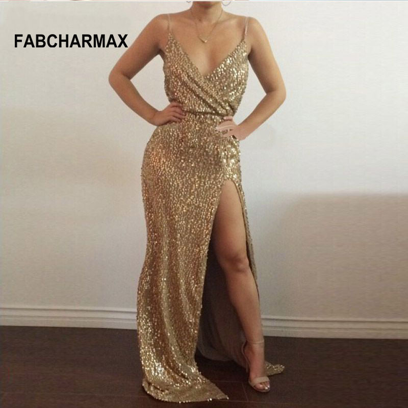FABCHARMAX gold sequin maxi dress sexy chic nightclub shining evening party  dress woman long split straps sequined dresses 840079304004