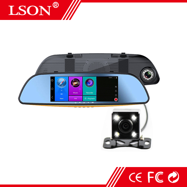 """7"""" Inch Android Navigation Rear View Mirror GPS Car DVR Wireless Wifi Recorder HD Dual Camera Recording Full Screen Reverse"""
