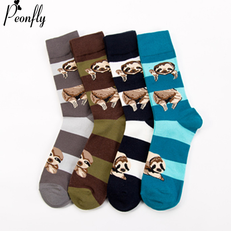 PEONFLY Personality Fashion Printing Cartoon Animals Sloth Pattern Stripe Socks Men High Quality Ventilation Cotton Socks Winter