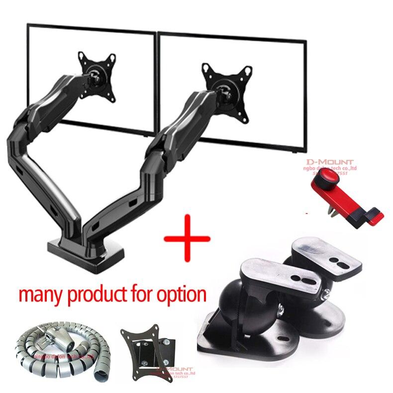 F160 27 NB plein mouvement air presse vérin à gaz double moniteur stand tv montage double sreen 360 rotation bureau support USB 2.0 support