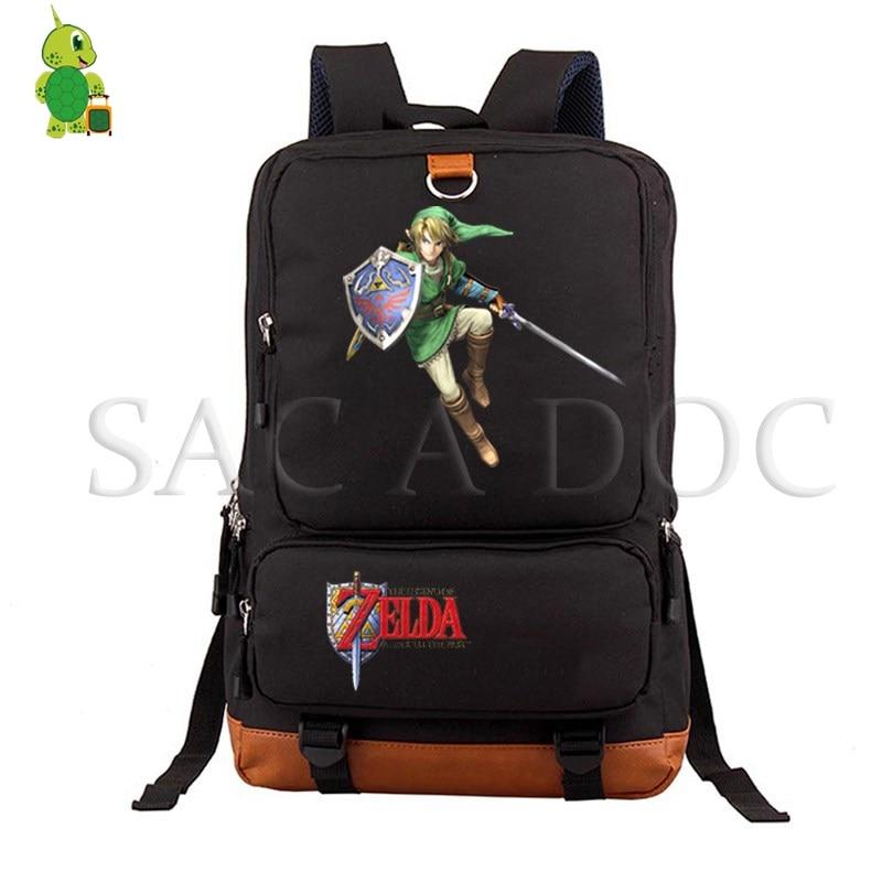 The Legend of Zelda Game Link Backpack Women Men Canvas Laptop Backpack School Bags for Teenagers Large Travel RucksackThe Legend of Zelda Game Link Backpack Women Men Canvas Laptop Backpack School Bags for Teenagers Large Travel Rucksack