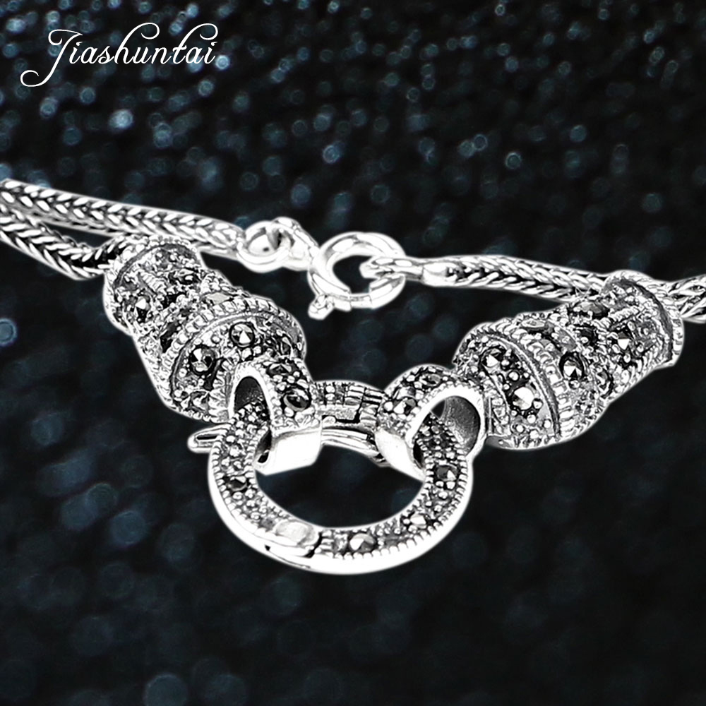 JIASHUNTAI vintage silver 925 long statement necklace chain punk sterling silver jewelry bijoux animaux for women