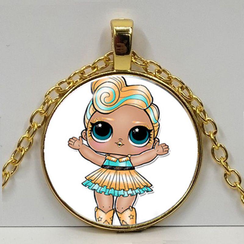 Мультяшное ожерелье с изображением куклы милое детское блестящее платье принцессы куклы стеклянные ожерелья аниме для детей подарок на день рождения - Окраска металла: Gold 2