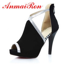High Quality Peep Toe Summer Thin Heels Shoes New Big Size34-44 Blue Black Rose Women Pumps Fashion Wedding Platform