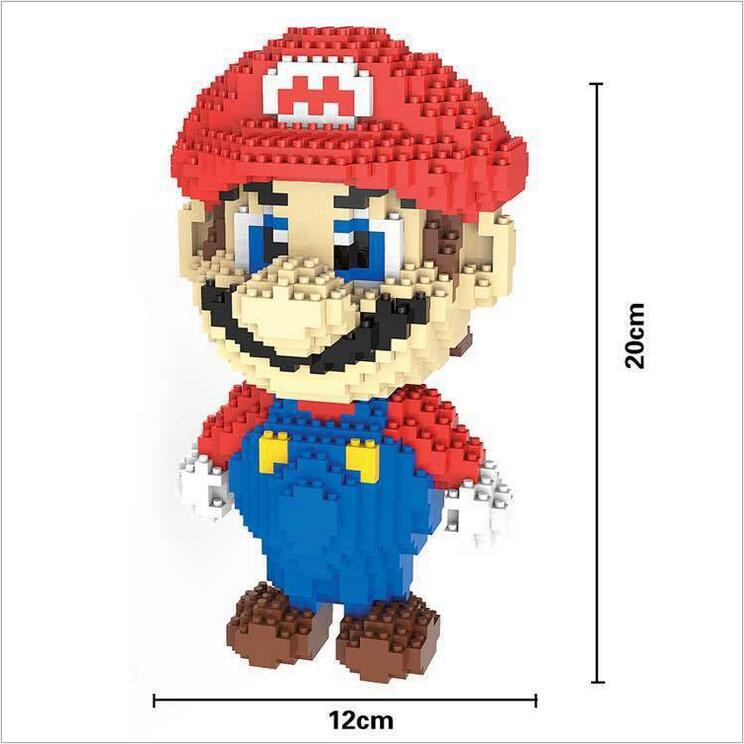 HC Big size Super Mario Micro Blocks Stitch Micro blocks DIY Building Toys Cute Cartoon Juguetes Auction Figures Kids Gifts 9003 loz super mario kids pencil case building blocks building bricks toys school utensil brinquedos juguetes menino jouet enfant