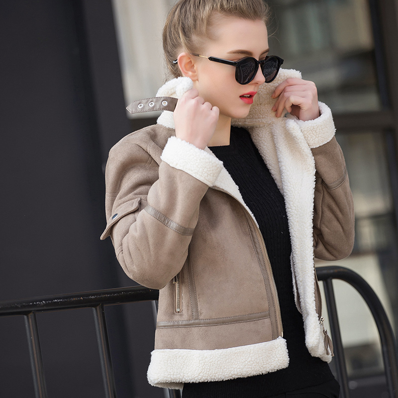 2017 Winter New Lamb Coat Female Short Cashmere Cotton Jacket Padded   Suede   Faux Sheekpskin Coats UV183001