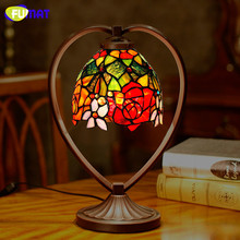 все цены на FUMAT Tiffany Table Lamp Rose Dragonfly Stained Glass Shade Desk Light Home Art Deco mariage LED Book Read bedroom bedside lamp онлайн