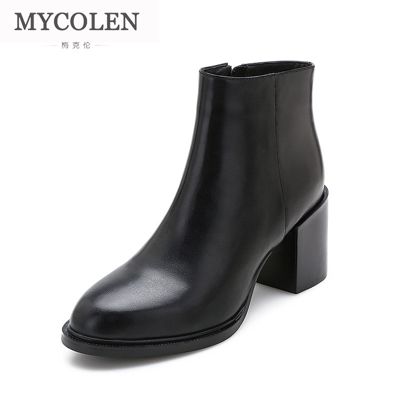 MYCOLEN 2018 New Fashion Style Leather Ankle Boots Round Toe Thick Heel Chelsea Boots Calf Leather Women Boots Ladies Shoes 2018 autumn new style genuine leather ankle boots pointed toe thick heel chelsea boots calf leather women boots ladies shoes