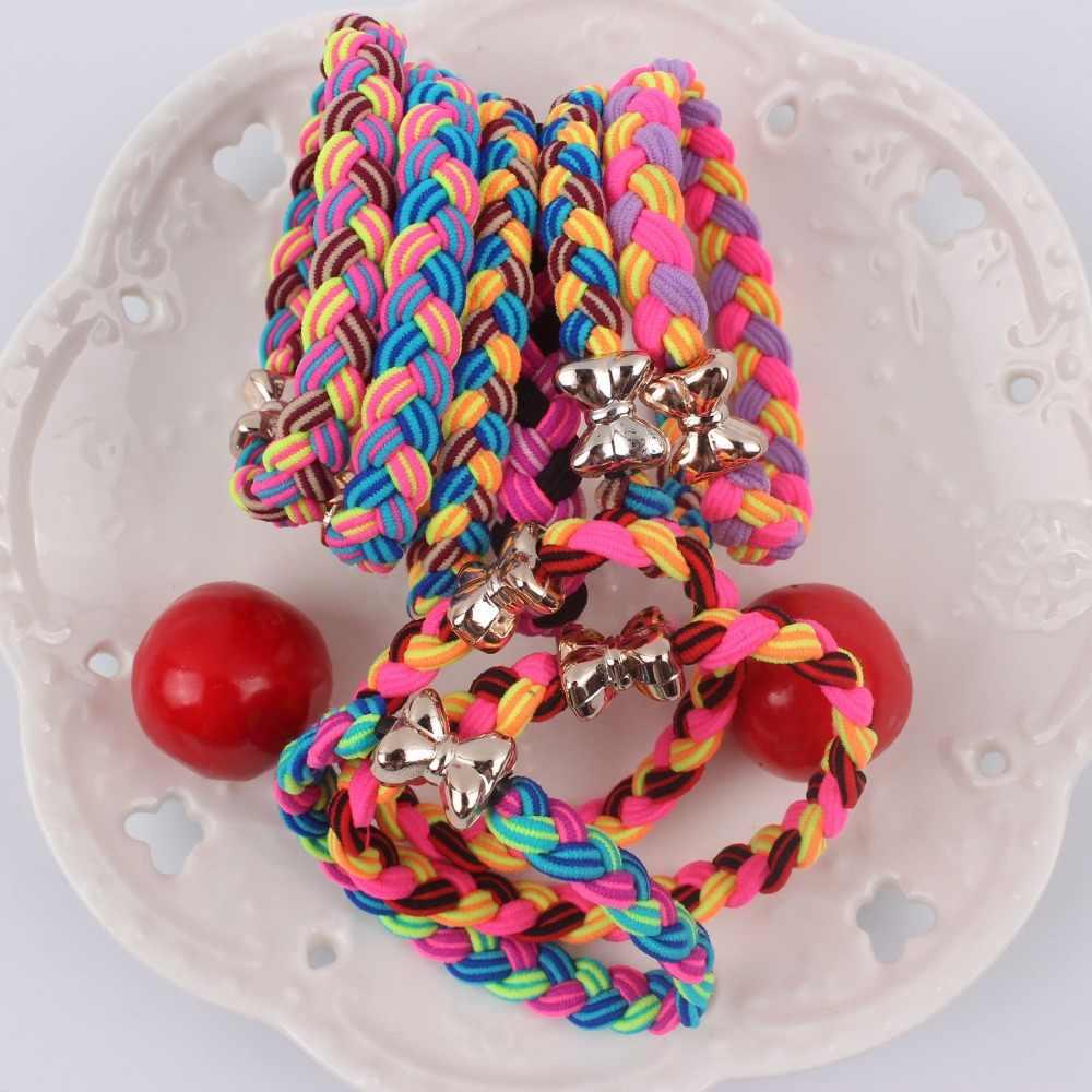 2019 trenza trenzada de moda para mujer bandas elásticas para el cabello de color arco iris para niñas accesorios para el cabello de alta calidad soporte de cola de caballo