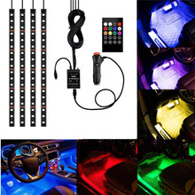 4pcs 48 LED Multicolor Music Car Interior Atmosphere Lights  Strip for car with cigarette and Sound sensor Active Function