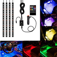 4pcs 48 LED Multicolor Music Car Interior Atmosphere Lights LED Strip for car with cigarette and Sound sensor Active Function