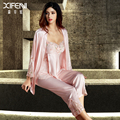 XIFENNI Imitação Silk Mulheres Pijamas Três Peças-Sleepwear Sexy Com Decote Em V Calças Pijamas Femininos Rendas Bordado Encabeça Vestes 6632