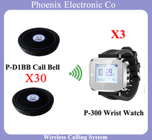 Wireless Pager Service Calling System For Restaurant Salon Beauty Table, 30 PCS Electronic Table Bells & 3 pcs Wrist Watch P-300