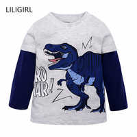 LILIGIRL Long-Sleeve Boys T-Shirt Autumn Baby Kids Camouflage Tops Tees 2019 Cartoon Dinosaur Children Cotton Shirts Clothing