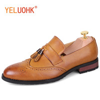 Pointed Toe Shoes Men Brogue Shoes Tassel Style Leather Men Shoes Casual Men Flats Fashion British