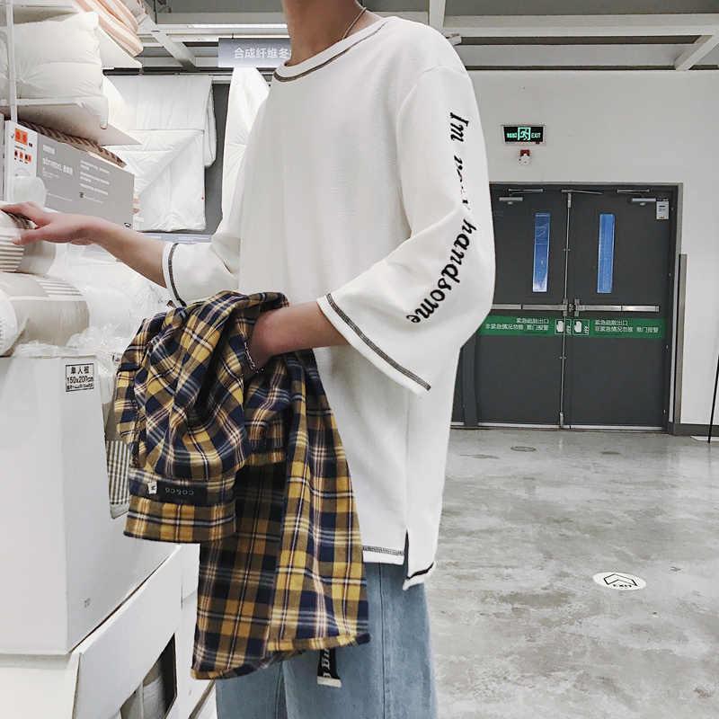2019 летняя индивидуальная футболка с рукавом «семь точек», Корейская мужская футболка с короткими рукавами и расслабленным джокером, студенческий тренд, средний рукав
