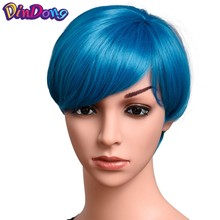 DinDong 8 Colors Synthetic Bob Wigs With Bangs Short Hair Wigs Heat Resistant bobo Hairstyle Cosplay wigs Blue Pink(China)
