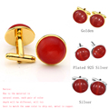New Men's Classic Stainless Steel Natural Red Cat's Eye Stone Round Cufflink Trendy Men Cufflinks for Dress Shirt Wedding 1 Pair