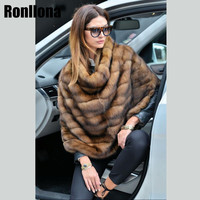 2018 New Arrival Real Mink Fur Sable Coat Stand Collar Women In Fur Coats Mink Genuine Ponchos Outwear Winter Woman Warm MKW 112