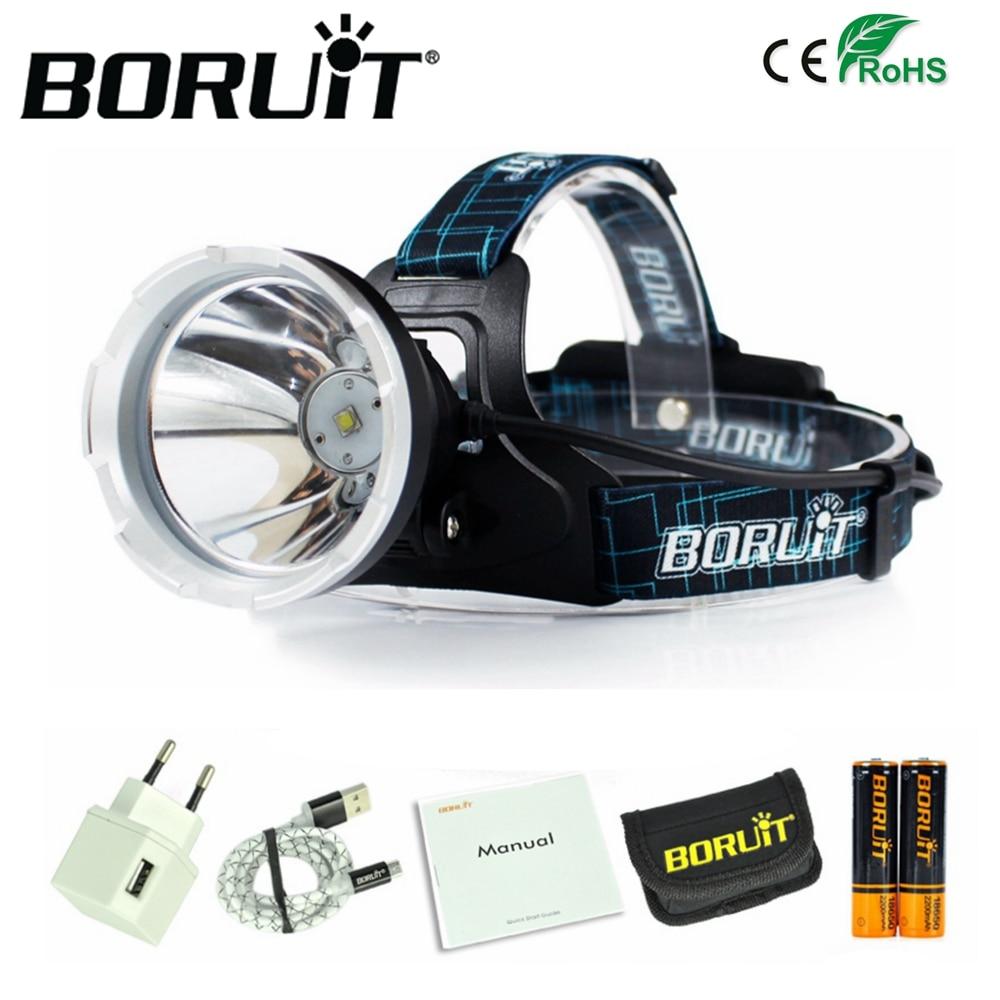 BORUIT B10 XM-L2 LED Scheinwerfer 3800LM 3-Modus Scheinwerfer Micro USB Aufladbare Kopf Taschenlampe Jagd Frontal Licht Camping Lampe 18650