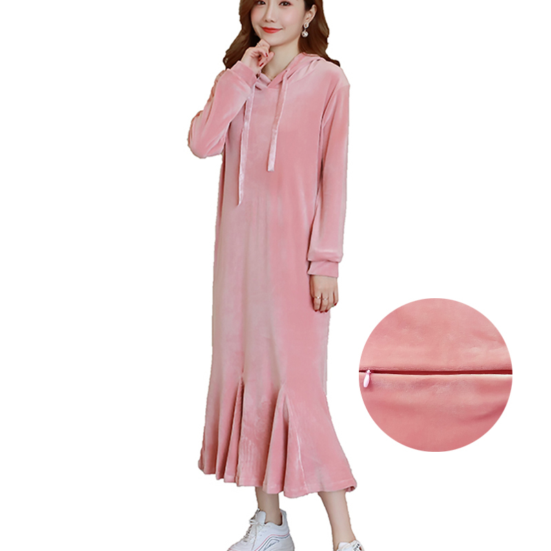 Autumn Winter Nursing Hoodies Maxi Long Dresses Casual Breastfeeding Sweatshirt Dress Plus Size for Pregnant Women Pullover Pink s 4xl plus size women pencil autumn dress 2016 fashion casual striped knee length turn down collar women dresses