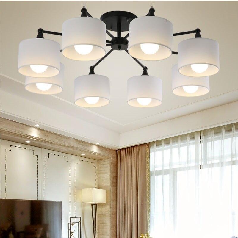 Plafonnier LED Lustre Pour Salon E27 Lustre Avec Abat-Jour À Manger Lustres Moderne Cuisine lampes