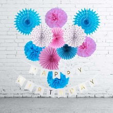 13pcs Birthday Party Decoration Kit Gold Foil Happy Banner Tissue Paper Fans Rosettes Fluffy Gender Reveal Baby Shower