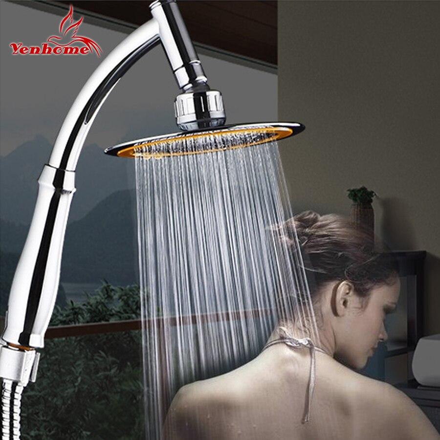 Girar 360 grados ABS cromo baño lluvia cabeza de ducha de ahorro de agua extensión brazo ducha de mano con manguera un soporte