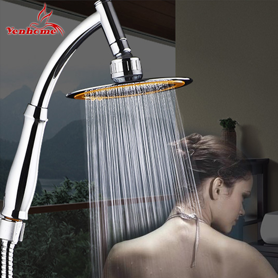 Rotate 360 Degree ABS Chrome Bathroom Rainfall Shower Head Water Saving Extension Arm Hand Held Shower Head With Hose An Bracket