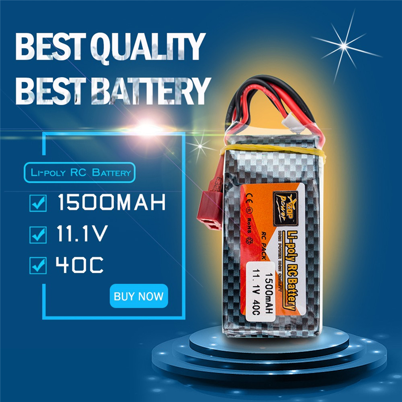 ZOP Power 11.1V <font><b>1500mAh</b></font> <font><b>3S</b></font> 40C Max <font><b>60C</b></font> <font><b>Lipo</b></font> Battery Rechargeable T Plug for RC Quadcopter Drone Helicopter Car Airplane WLtoys image