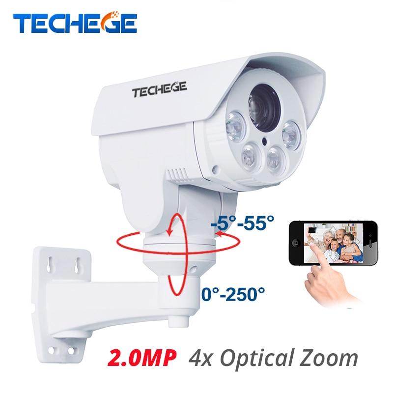 Techege 4x Optical Zoom Auto SONY HI3516C+IMX322 HD 1080p Bullet 2.0MP IP Camera PTZ Outdoor Weatherproof Night Vision IR 80M