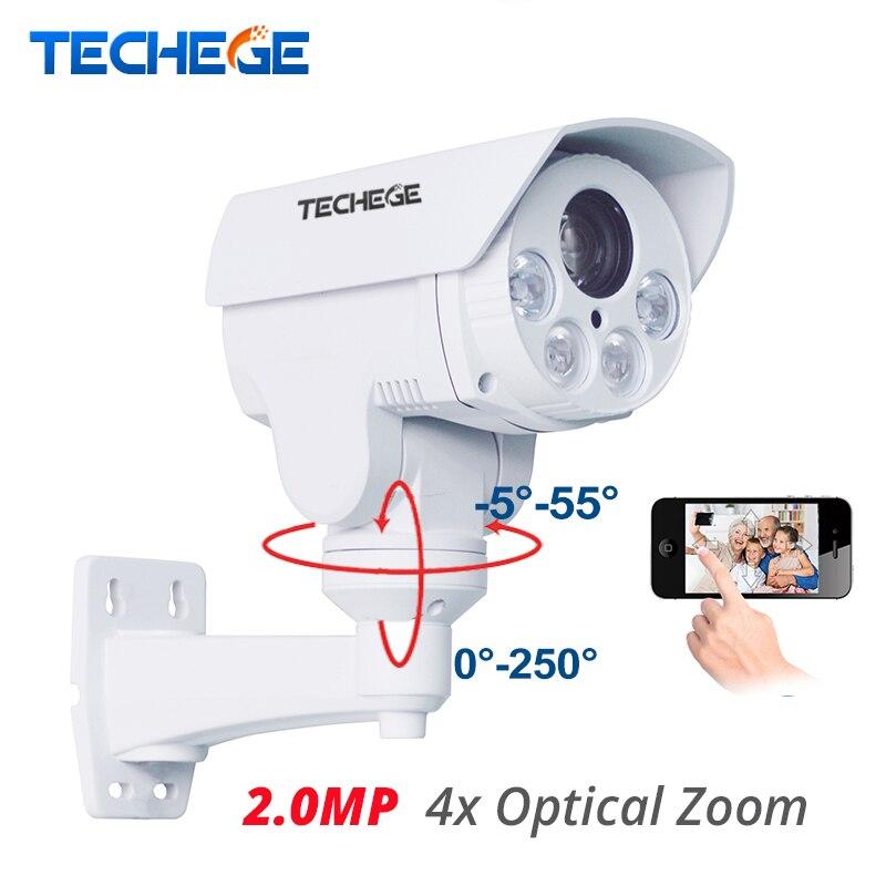 Techege 4x Zoom Óptico Auto HD 1080 p Câmera IP Bala 2.0MP Velocidade PTZ Onvif Impermeável Ao Ar Livre da Visão Nocturna do IR 80 m Segurança Cam