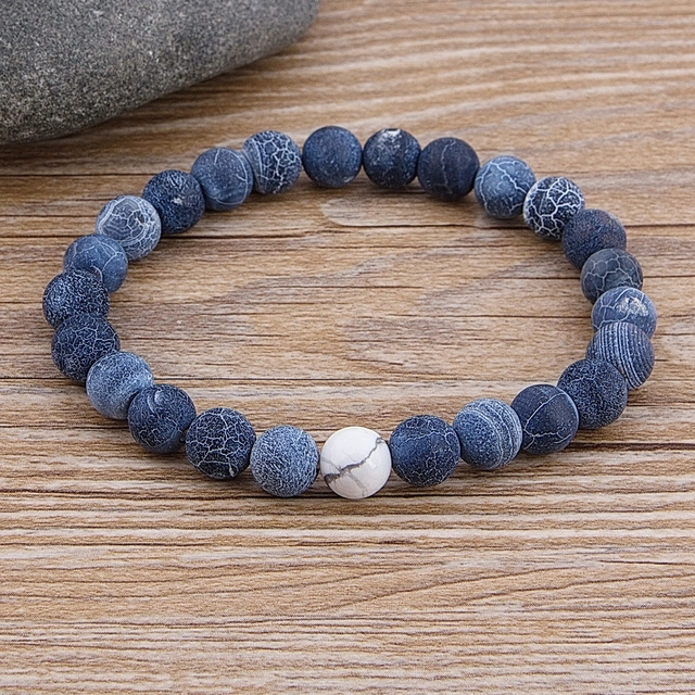 Custom Female Male Marble Bead Tiger Eye Bead Blue Bead Lava Natural Stone Bead Bracelet Wide 8MM Stone Handmade Boho Jewelry