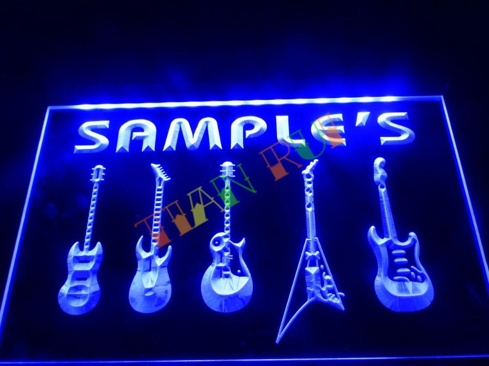 Dz046 name personalized custom guitar weapon band music for Room decor neon signs