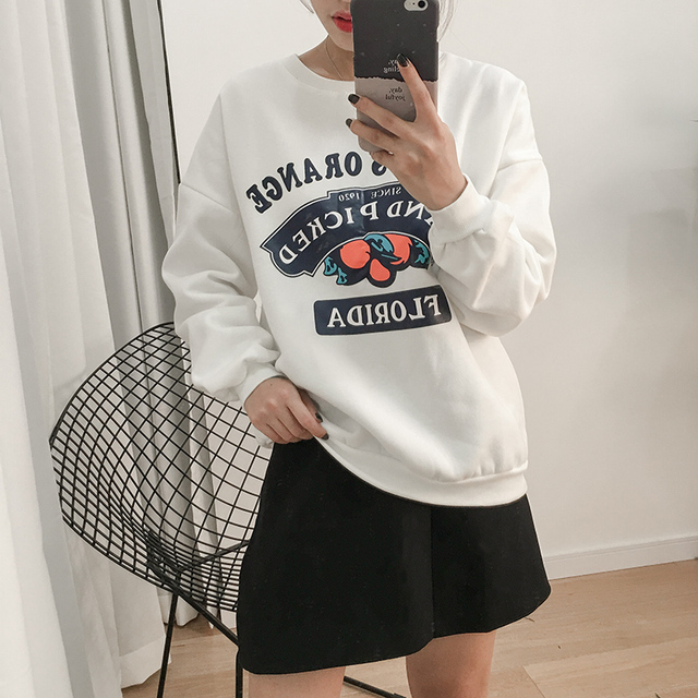 Women'S Harajuku Fleece Thickening Print Kawaii Sweatshirt Female Korean Cute Thick Velvet Loose Svitshot
