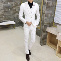 2018 Spring Men's Casual Three piece Suits /Korean style Slim white Mens suits High quality wedding suits for men dress Clothing