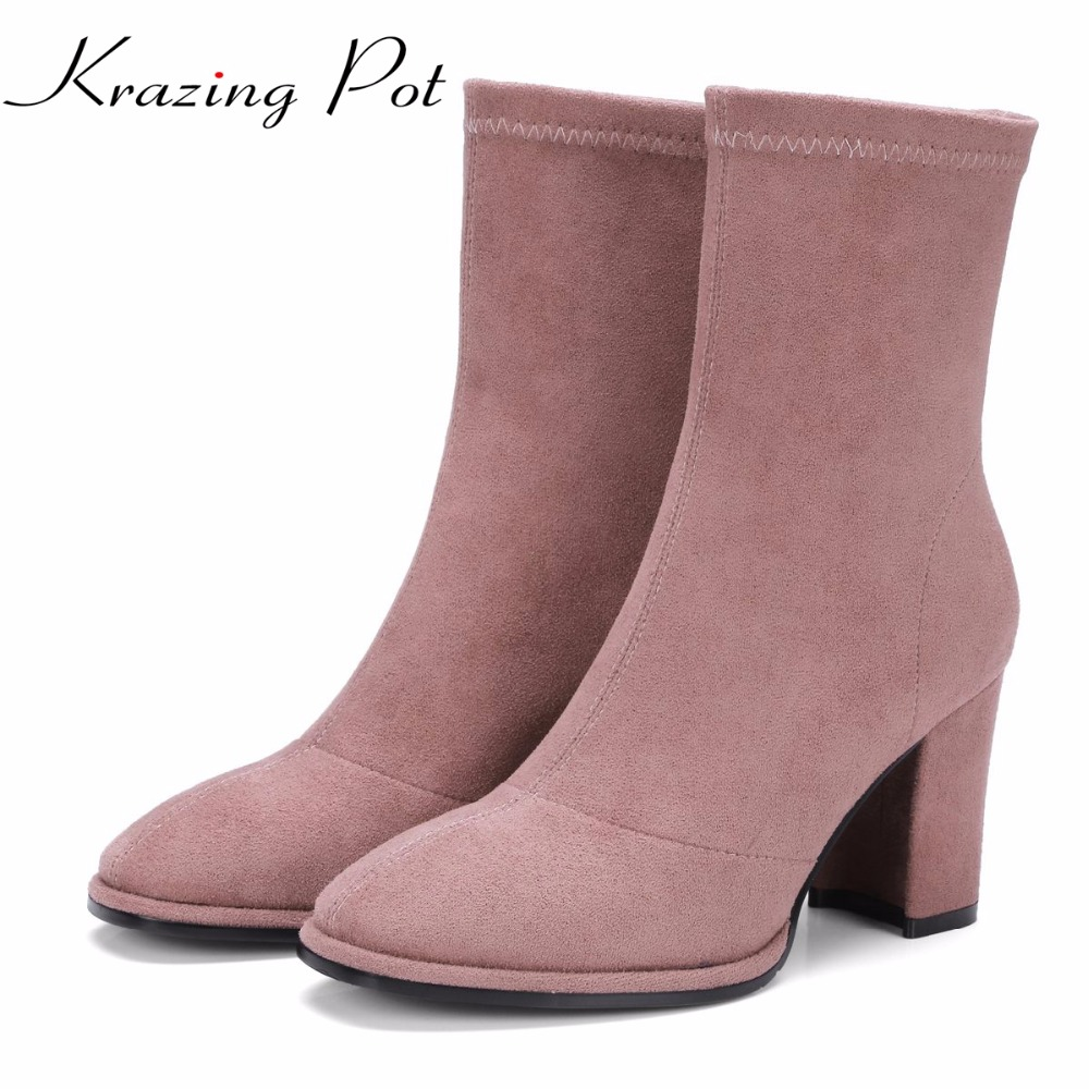 Krazing Pot basic classics flannel fashion winter boots zipper decoration thick heels office lady plus size mild-calf boots L09 christmas background for photography wood flower green yellow rose colorful new born xmas customize photocall