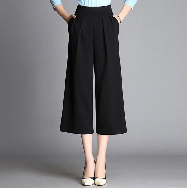 246a7472c89 Wiosna Jesień Luźne Szerokie Spodnie Nogi Spodnie Capris Dorywczo Spodnie  krótkie Długości Łydki Długość Kostki Plus